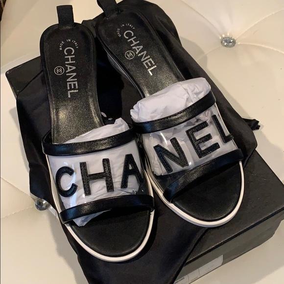 Chanel Lambskin Pvc Mule 35 Transparent